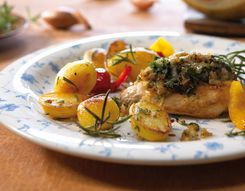 Turkey steaks with cheese-herb crust